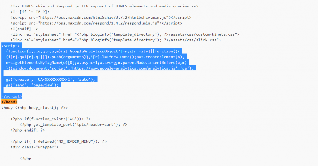 header.php script with Universal Analytics Code