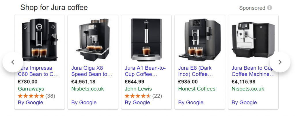 Honest Coffee Google Shopping Ads